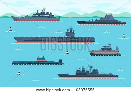 Warship set in flat style
