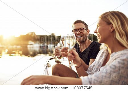 Happy Couple Toasting Glasses