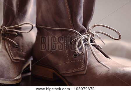 Leather Boots. Brown Shoes with Lace