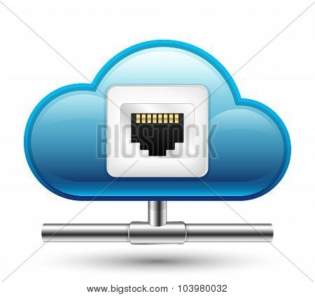Connection To The Cloud Computing. Vector Icon