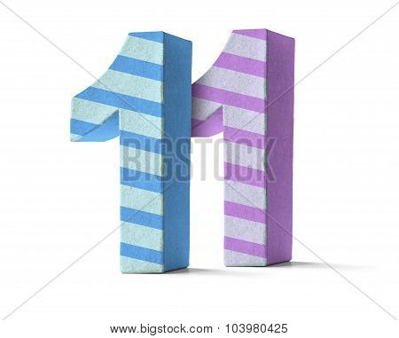 Colorful Paper Mache Number On A White Background  - Number 11