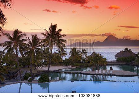 Sunset over the sea and mountains Tahiti.