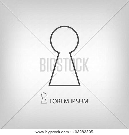 Grey keyhole sign