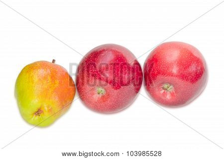 Pear Bartlett And Two Apple On A Light Background