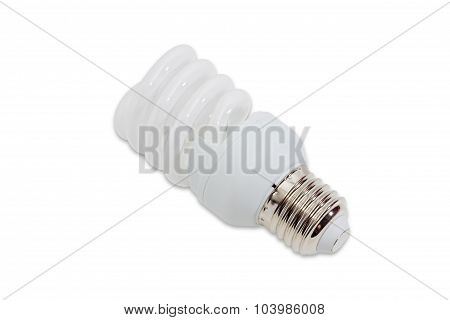 Compact energy saving fluorescent electric light bulb tubular type with helical tube on a light background. Isolation. poster