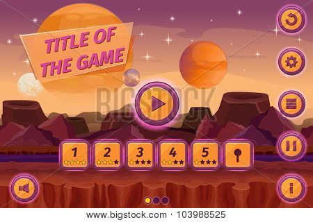 Sci-fi game cartoon user interface with control elements, buttons, status bar and icons on seamless