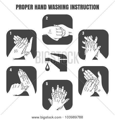 Proper hand washing instruction black vector icons set