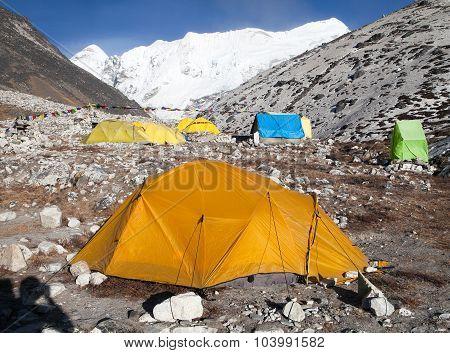 Base Camp of Island Peak (Imja Tse) near Mount Everest Khumbu valley Sagarmatha national park Nepal poster