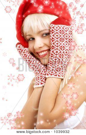 Santa Helper Girl With Snowflakes