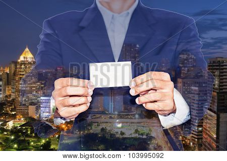 Business Concept ,double Exposure Of City And Business Man