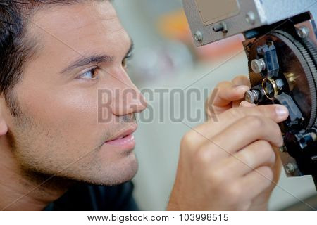 Mechanic concentrating on his work