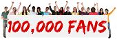 100000 fans likes social networking media sign group of young people holding banner isolated poster