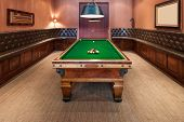 Entertainment room in luxury mansion with  pool table poster