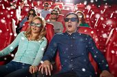 cinema, technology, entertainment and people concept - scared friends or couple with 3d glasses watching horror or thriller movie in theater with snowflakes poster