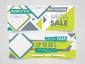 Mega Sale with discount offer,  Creative website header or banner set with space to add images. poster