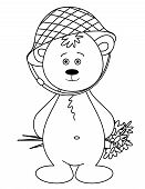 Teddy-bear in a helmet with a bouquet. Picture to Valentine's day. Contours. poster