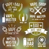 Vapor bar and vape shop logo and e-cigarette icons. White print on blurred background poster