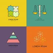 Clean modern logo collection with psychology symbols. Perfect template for private counseling or mental health professional. poster
