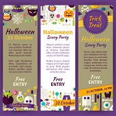 Trick or Treat Halloween Party Invitation Template Flyer Set. Flat Design Vector Illustration of Brand Identity for Halloween Holiday Promotion. Trick or Treat Colorful Pattern for Advertising poster