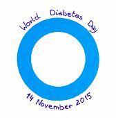 Blue circle of paper and date written on white background symbol of world diabetes day poster