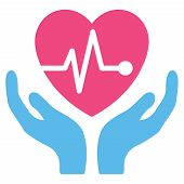 Cardiology vector icon. Style is bicolor flat symbol, pink and blue colors, rounded angles, white background. poster