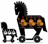 Cartoon Trojan horse with Greek soldiers in it in 2 versions. poster
