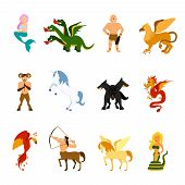 Mythical creatures and monsters from different mythologies and fairy tales flat cartoon images set isolated vector illustration poster