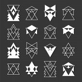 Set of trendy geometric shapes. Religion philosophy spirituality occultism symbols. Geometric hipster logotypes collection. Vector illustration poster