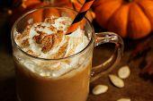 Pumpkin spice latte on dark moody background poster