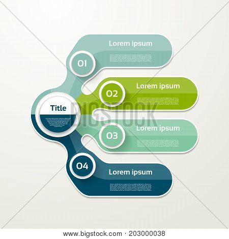Four elements banner. 4 steps design chart infographic step by step number option layout.
