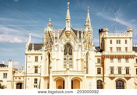Lednice castle is a majestic georgeous mansion in southern Moravia Czech republic. Architectural scene. Travel destination. Yellow photo filter.