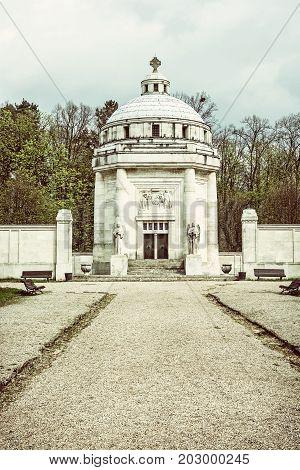 Mausoleum of The Andrassy family near castle Krasna Horka Slovak republic. Architectural theme. Old photo filter.