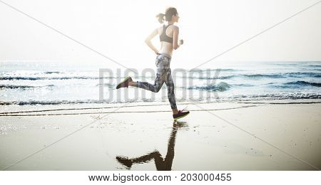 Female Jogger Training Exercise Concept