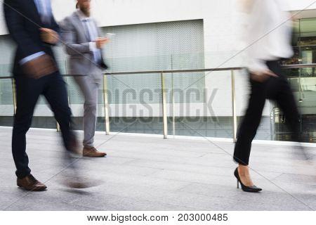 Businesspeople Men Women Walk Rush