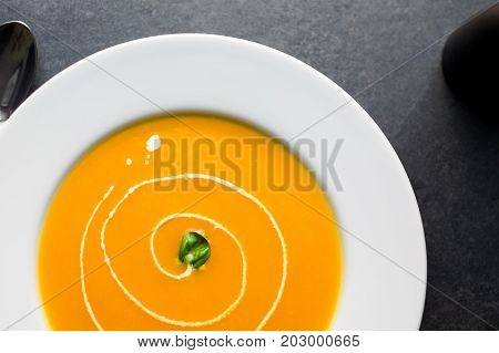 Butternut Squash Soup Top View.