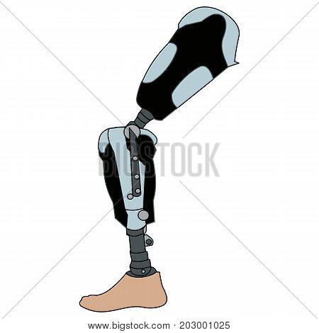 Modern Exoskeleton Prosthetic leg mechanism. Vector Illustration isolated on white background.