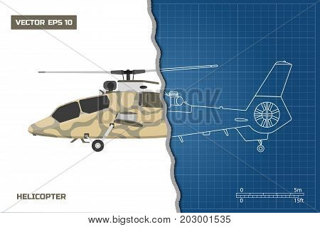 Engineering blueprint of military helicopter. Helicopters view: top, side and front. Industrial drawing. Vector illustration