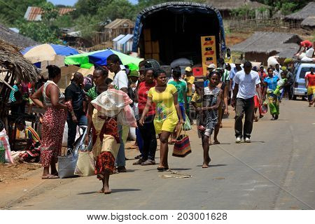 Malagasy Peoples On Rural City Sofia In Madagascar