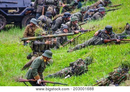 Battlefield action.The VIII International Festival of Military History and remake for the battle `1944` 6.08.2016 in Valga, Estonia
