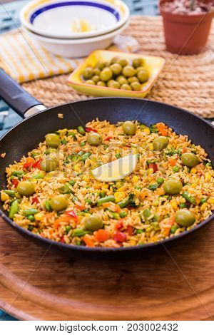 Traditional spanish rice dish - vegetable paella