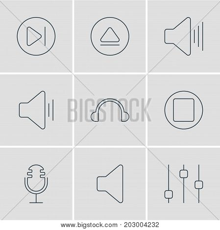 Editable Pack Of Earphone, Subsequent, Audio And Other Elements.  Vector Illustration Of 9 Music Icons.