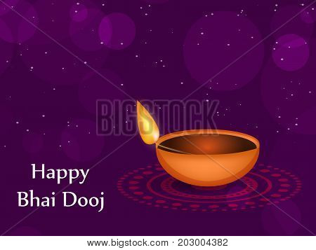 illustration of a lamp with happy Bhai Dooj text on the occasion of Hindu festival Bhai Dooj celebrated in India