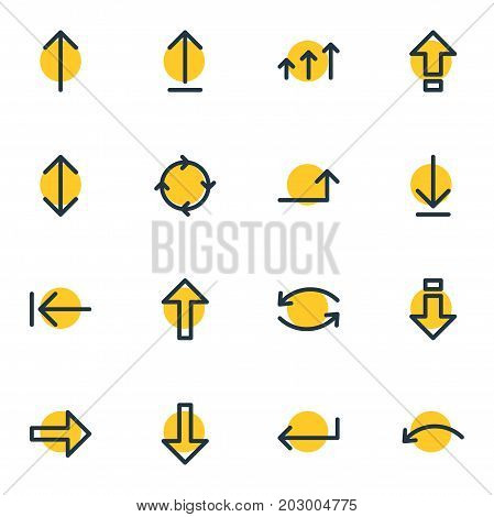 Editable Pack Of Exchange, Undo, Submit And Other Elements.  Vector Illustration Of 16 Direction Icons.