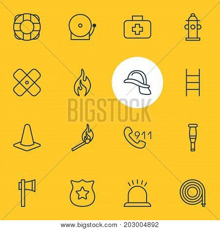 Editable Pack Of Burn, Adhesive, Stairs And Other Elements.  Vector Illustration Of 16 Necessity Icons.