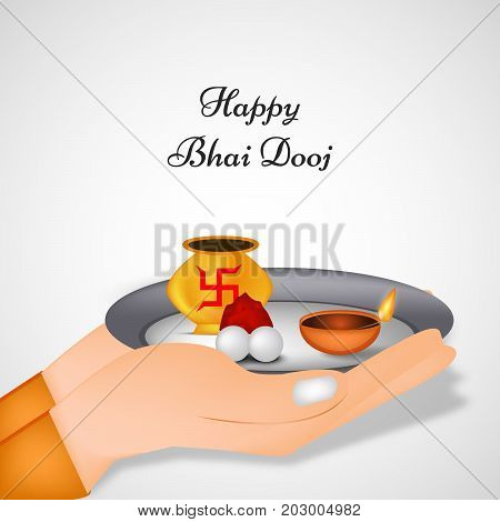 illustration of hand holding plate,lamp and kalash in hinduism sign swastik background with happy Bhai Dooj text on the occasion of Hindu festival Bhai Dooj celebrated in India