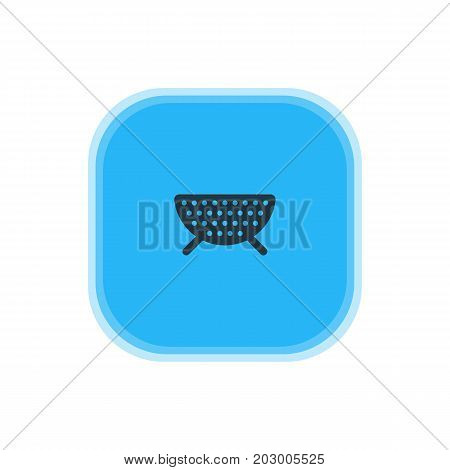 Beautiful Cooking Element Also Can Be Used As Sieve Element.  Vector Illustration Of Colander Icon.