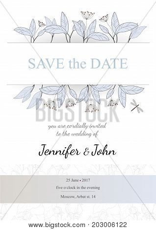Wedding invitation and greeting cards with floral elements.