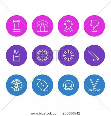 Editable Pack Of Goblet, Award, Racer Hat And Other Elements.  Vector Illustration Of 12 Fitness Icons.