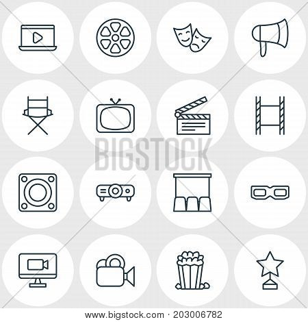 Editable Pack Of Camera, Slideshow, Megaphone And Other Elements.  Vector Illustration Of 16 Cinema Icons.