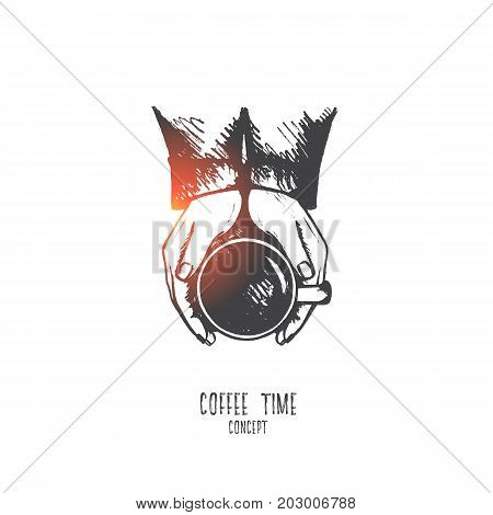 Coffee time concept. Hand drawn hands with cup of coffee, top view. Concept of a coffee break, a pleasant time of rest isolated vector illustration.